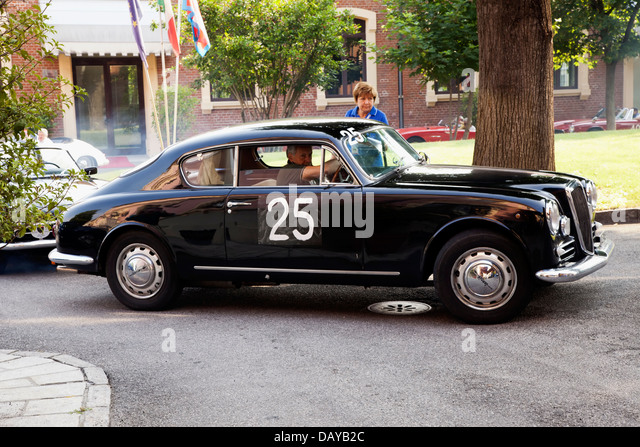 1957 lancia aurelia b 20 driven by pietra uberto before the start of race memorial