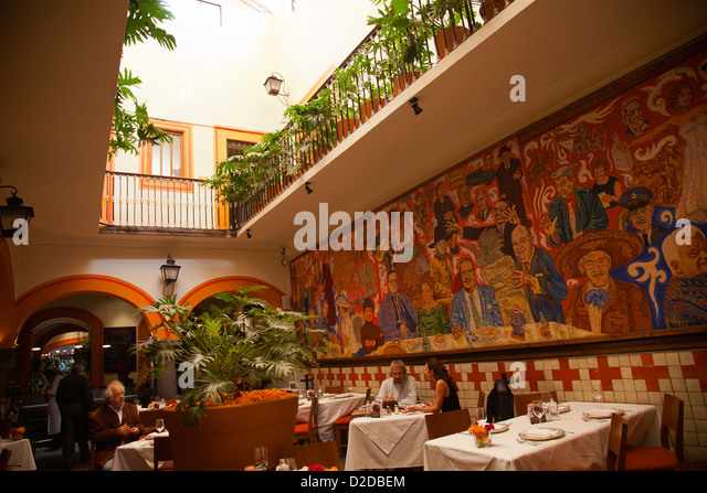 Mexican restaurant interior stock photos mexican for El mural restaurante puebla