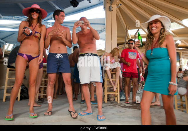 Best Island Beaches For Partying Mykonos St Barts: Strandparty Stock Photos & Strandparty Stock Images