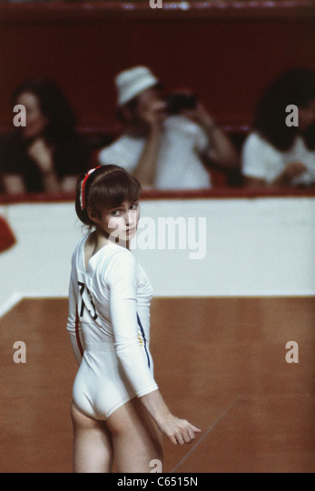 nadia comaneci rom performing for the 1976 montreal olympic games stock image