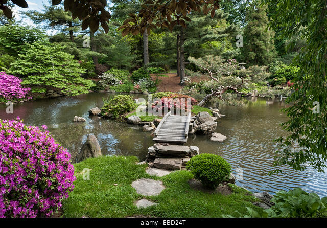 japanese garden philadelphia usa stock image