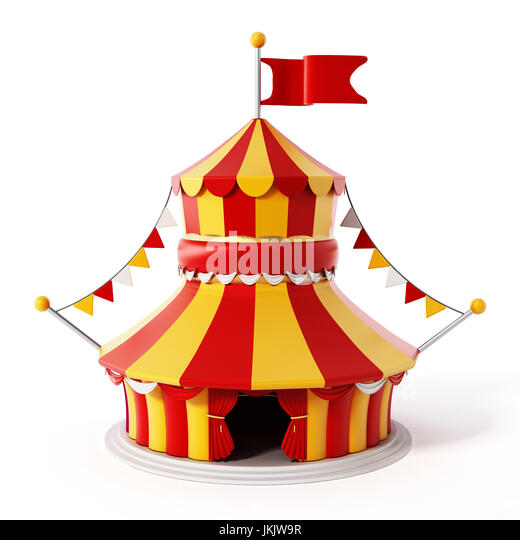 Circus tent isolated on white background. 3D illustration. - Stock Image  sc 1 st  Alamy & Cartoon Circus Tent Isolated On Stock Photos u0026 Cartoon Circus Tent ...