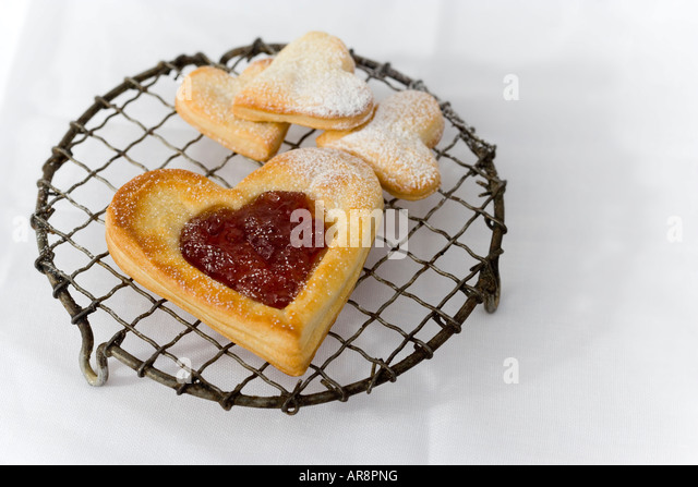 Heart shaped puff pastry stock photos heart shaped puff for Easy jam tarts ready made pastry