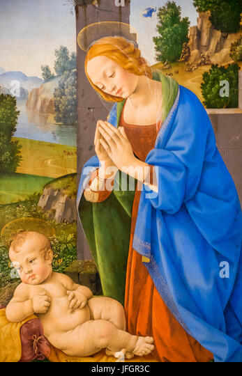 England, London, Trafalgar Square, The National Gallery, Painting of The Virgin Adoring the Child by Lorenzo di - Stock Image