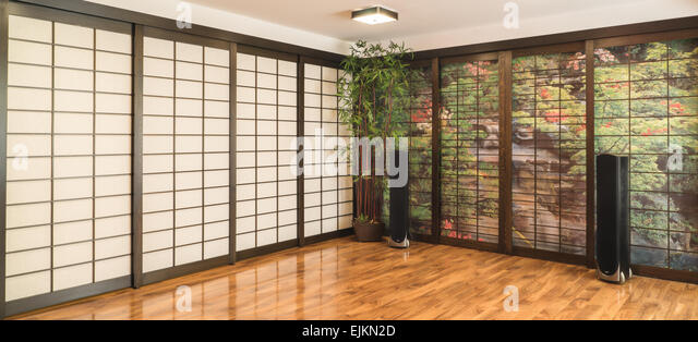 japanese room with shoji and tower speakers stock image