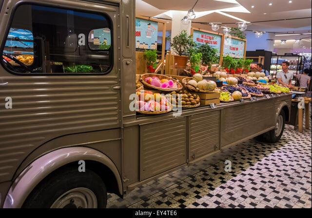 Paris France Fresh Fruits On Display Luxury Food Shop Vintage Truck In