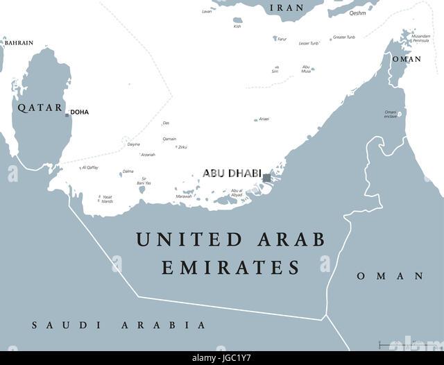 united arab emirates political map with capital abu dhabi uae emirates a monarchy