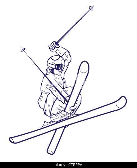 Line Drawing Person : Snow skiing sketch stock photos