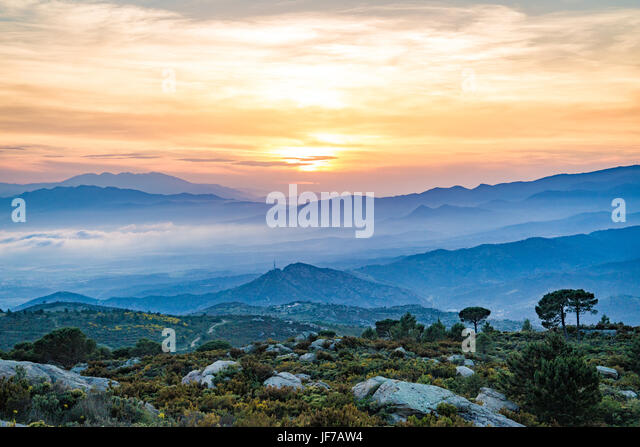 Catalonia mountains at sunset - Stock Image