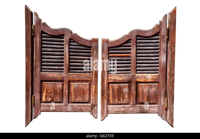 Old rough wooden saloon doors isolated on white with clipping path - Stock Image