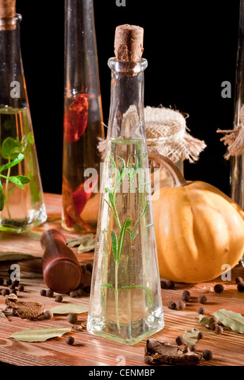 Oil Bottles U0026 Other Ingredients On Kitchen Table Top   Stock Image
