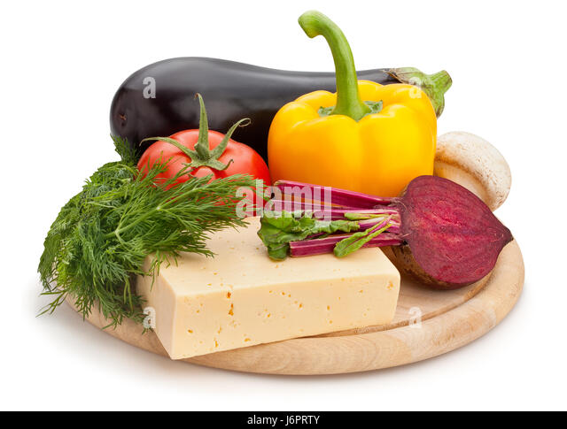 mixed vegetables cheese cutting board isolated - Stock Image