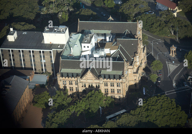 High level oblique semi aerial view east of land titles building from