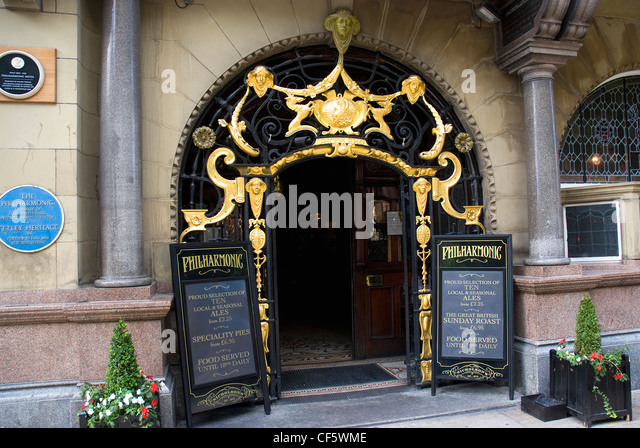 The entrance to The Philharmonic Dining Rooms opposite the Liverpool  Philharmonic Hall    Stock Image. Philharmonic Dining Rooms Liverpool Stock Photos   Philharmonic