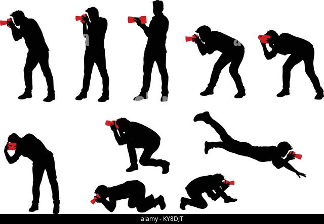 photographer set silhouette stock vector