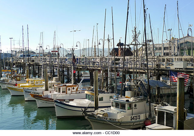 Boats at fisherman 39 s wharf stock photos boats at for Fishing store san francisco