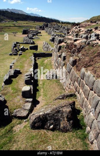 Inca carved stone walls stock photos