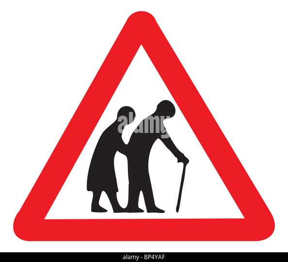 Uk Road Sign Warning Of Nursing Home Old People Oap Oaps Seniors Disabled Couple Man And