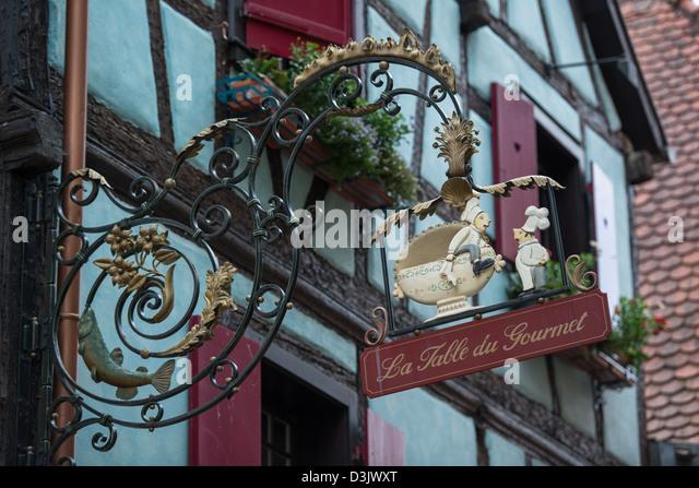 Alsace street sign stock photos alsace street sign stock - Restaurant riquewihr table du gourmet ...