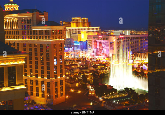 View from the Vdara of the Bellagio and Strip, City Center, Las Vegas,