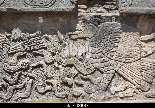 Bas-relief carving of eagle, pre-Columbian Maya civilization, Chichen Itza, Yucatan, Mexico. UNESCO world heritage - Stock Image