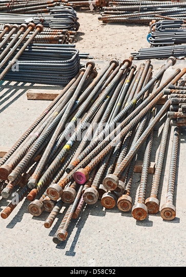 Metal bars for concrete : Reinforcing steel stock photos