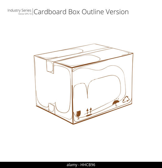 cardboard box outline. abstract closed cardboard box outline version side view vector eps10 stock o