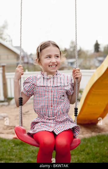 girl on swing above - photo #38