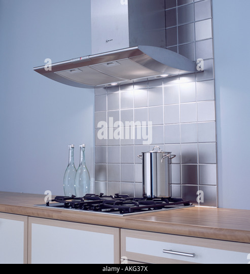 Modern Kitchen Extractor Fans stainless steel extractor above hob stock photos & stainless steel