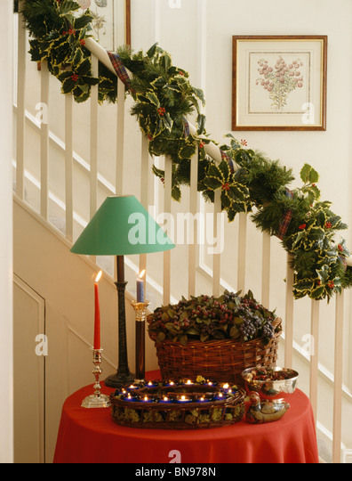 Christmas Garland Staircase Stock Photos & Christmas Garland ...