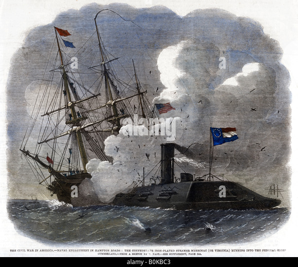 the battle at hampton roads The battle of hampton roads, often referred to as either the battle of the monitor and merrimack (or virginia) or the battle of ironclads, was the most noted and.