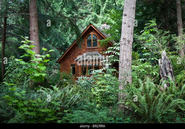 Woodland Cottage At Hedgebrook Writeru0027s Retreat, Whidbey Island, WA   Stock  Image