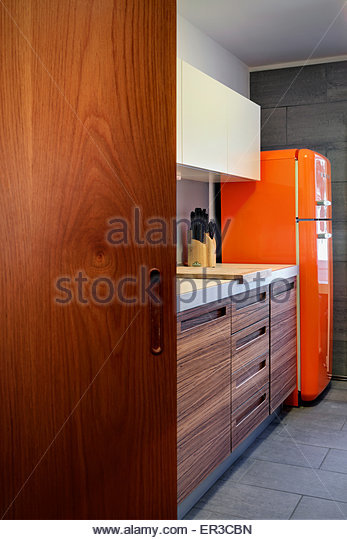 Upright fridge stock photos upright fridge stock images for Wooden fitted kitchen
