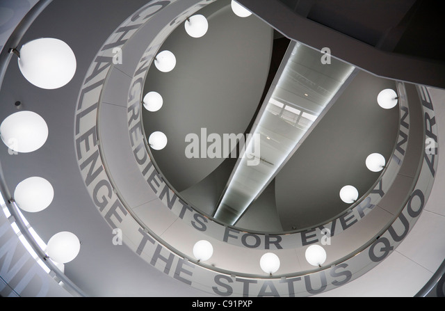 Stairwell with skylight above modern staircase - Spiral Stair From Below Stock Photos Amp Spiral Stair From