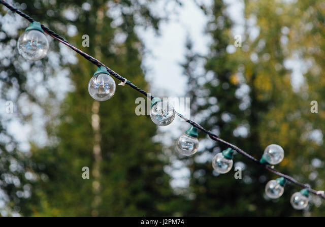 Hanging String Lights Without Trees : Yard Lights Party Lights Stock Photos & Yard Lights Party Lights Stock Images - Alamy
