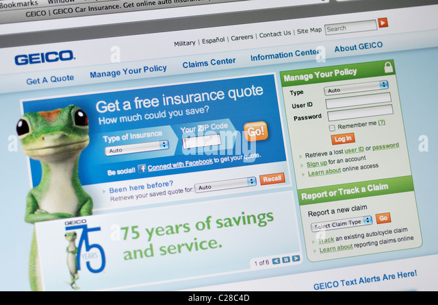 Geico Quote Online Best Geico Website Online Screenshot Screen Stock Photos & Geico