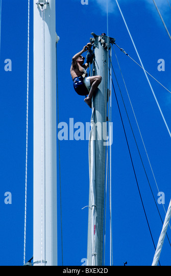 bosun chair navy. a yachtsman scales the top of mast secured to bosun\u0027s chair carry out bosun navy