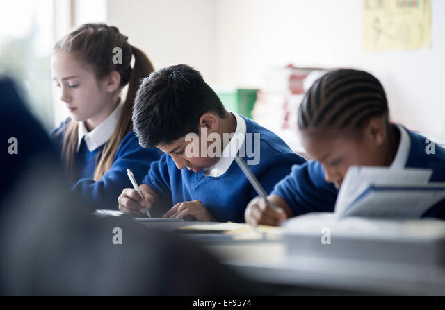 Elementary Classrooms Writing : Primary school classroom uk stock photos