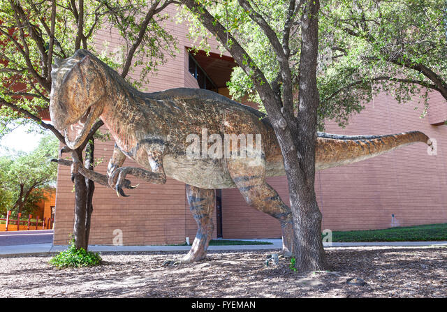 Sculpture Of A Dinosaur In Front Of The Science And History Museum Of Fort  Worth.