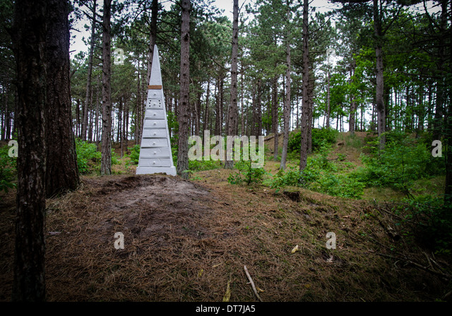 Art Sculpture Furniture In A Forest Installation At Oerol Festival  Terschelling Netherlands   Stock Image