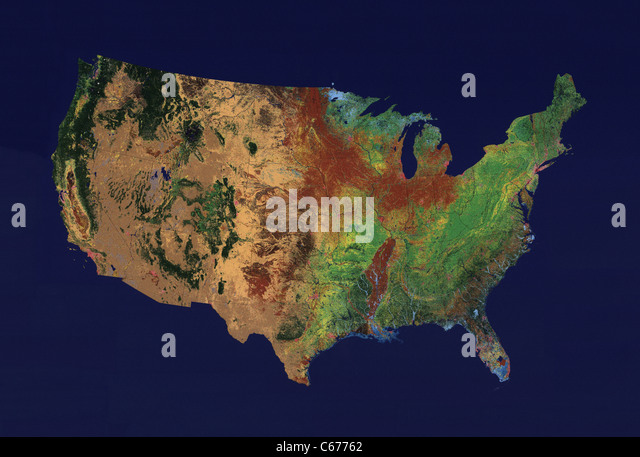 Topographic Relief Map Of The 48 Contiguous States Of The United States On Uniform Blue Background