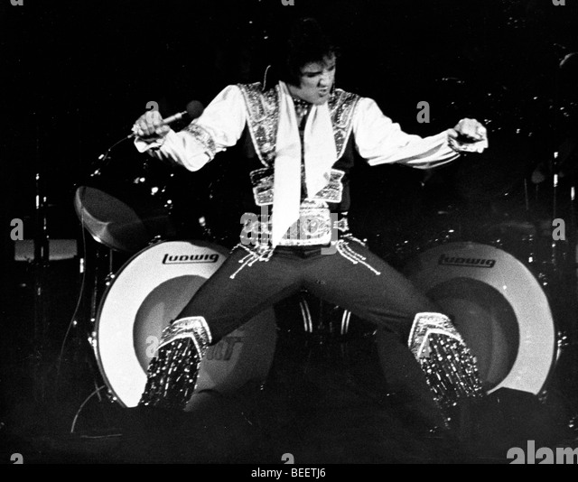 Singer Elvis Presley Performs At Madison Square Garden   Stock Image