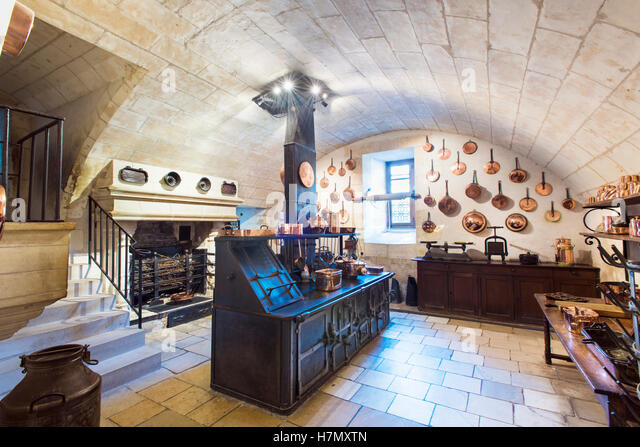 The Main Kitchen At Chateau De Chenonceau Near The Village Of Chenonceaux  In The Loire Valley