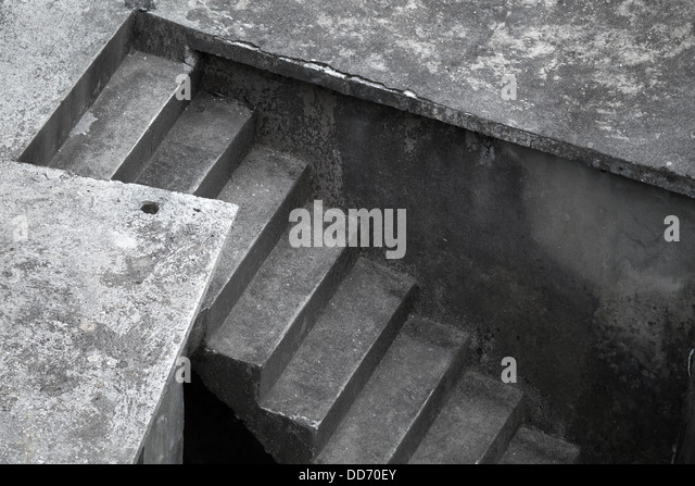 Abstract Architecture Fragment With Dark Concrete Stairs   Stock Image