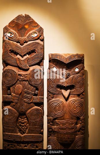 Wood carved tiki stock photos