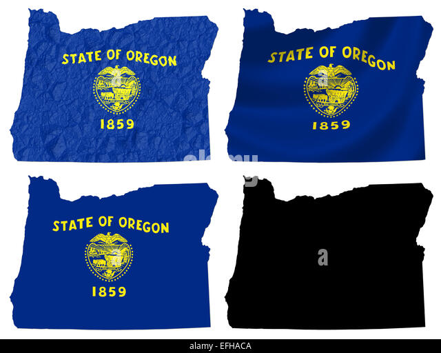Us Oregon State Flag Over Map Stock Image