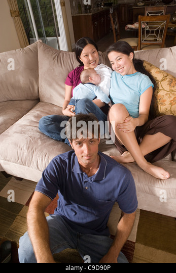 asian on sofa interracial