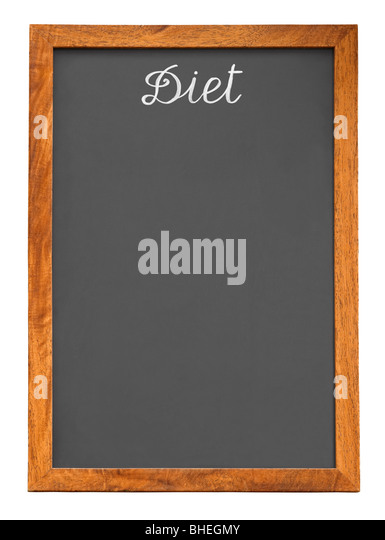 Menu Chalkboard For Diet Food List Isolated On White Background With Clipping Path