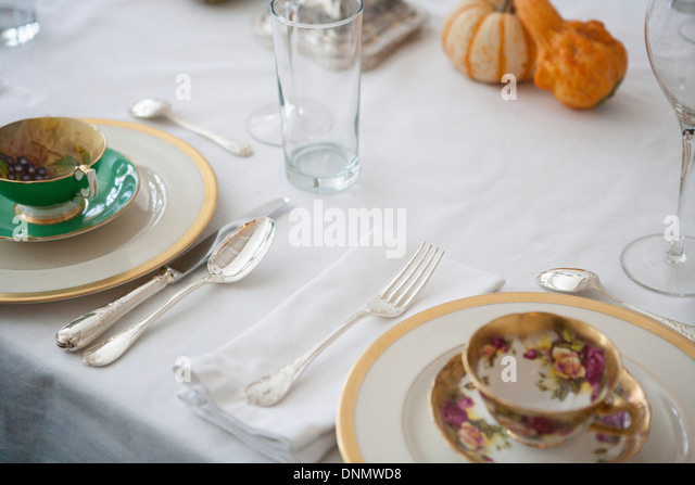 Formal Breakfast Table Setting formal table setting stock photos & formal table setting stock