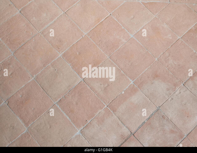 Traditional Stone Flooring Material. Terracotta Tiles. Old. Italian.    Stock Image